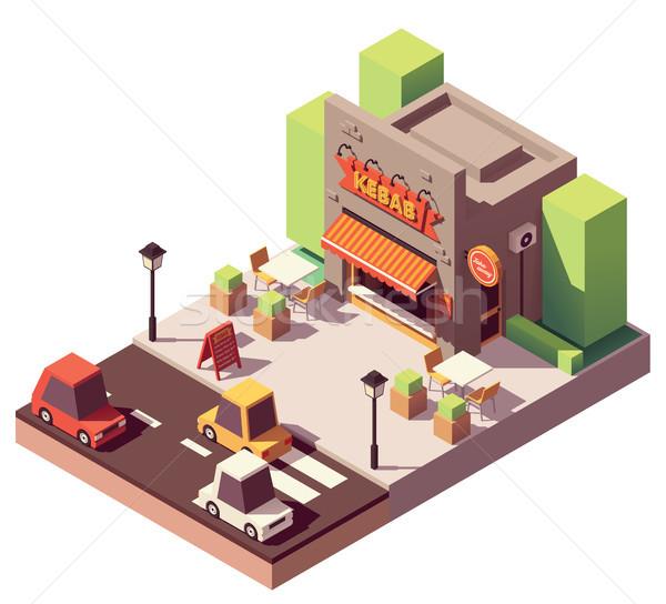 Vektör izometrik kebap alışveriş sokak gıda restoran Stok fotoğraf © tele52