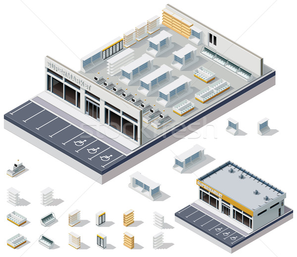 Vector isometric DIY supermarket interior plan  Stock photo © tele52