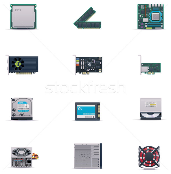 Vector computer parts icon set Stock photo © tele52