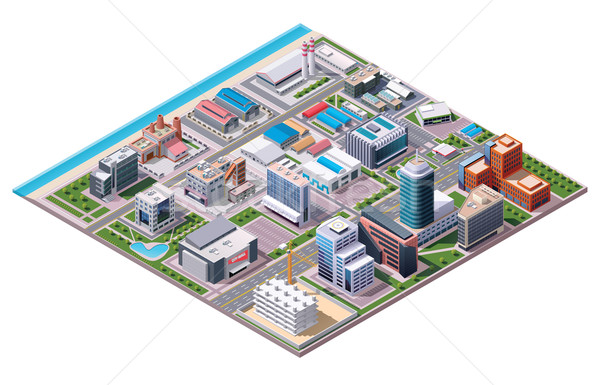 Stock photo: Isometric industrial and business city district map