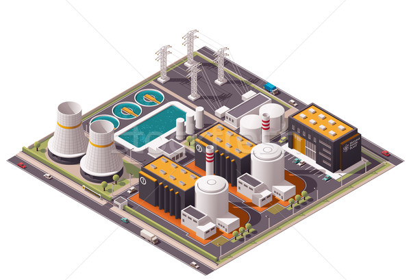 Vector isometric nuclear power plant icon Stock photo © tele52