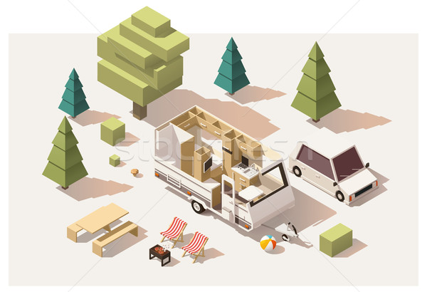 Vector isometric low poly camping equipment Stock photo © tele52