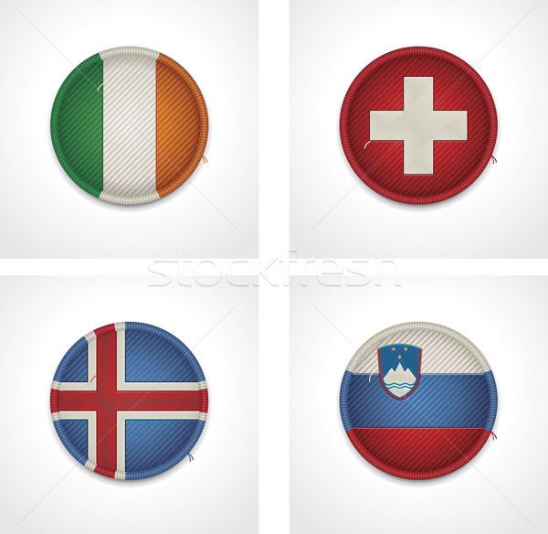 Vector banderas países tejido insignias establecer Foto stock © tele52