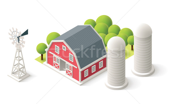 Vector isometric farm set Stock photo © tele52