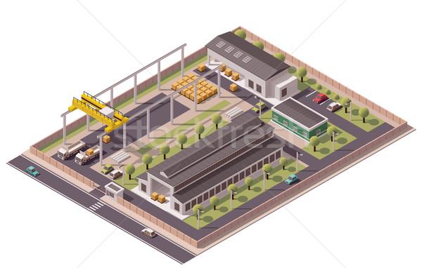 Foto d'archivio: Vettore · isometrica · fabbrica · edifici · icona