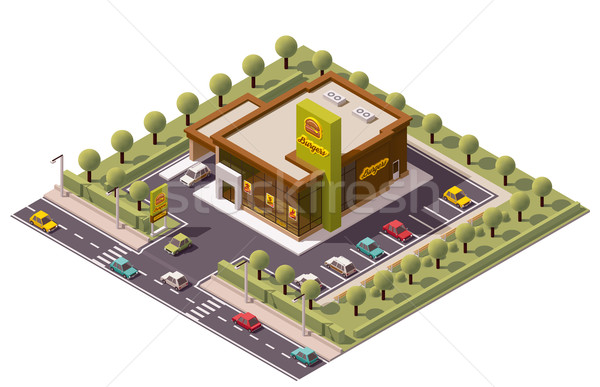 Stockfoto: Vector · isometrische · fastfood · restaurant · icon · business · auto