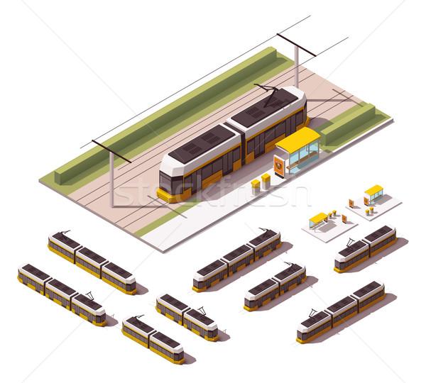 Vector isometric tramways Stock photo © tele52