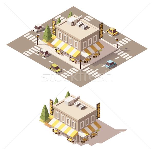 Vektor izometrikus alacsony kávézó épület építkezés Stock fotó © tele52