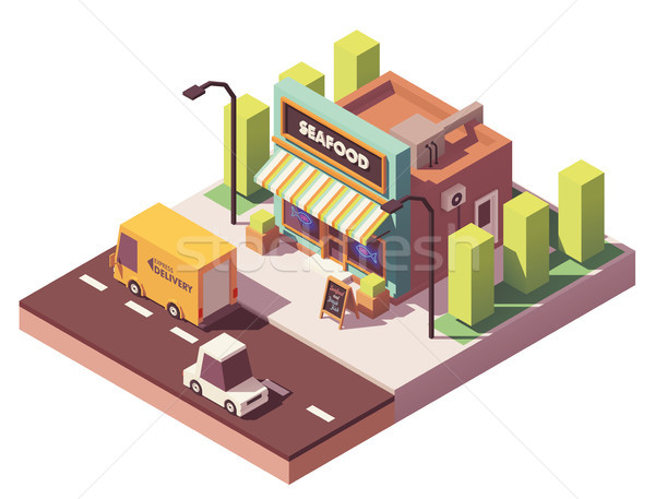 Vector isometric fish and seafood shop Stock photo © tele52