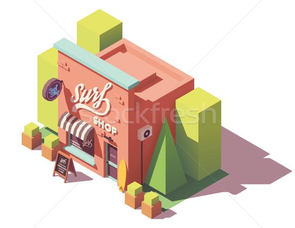 Vektor izometrikus szörf bolt felszerlés épület Stock fotó © tele52