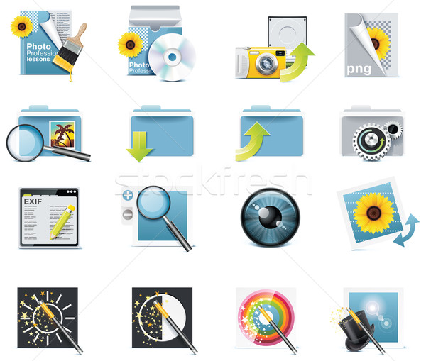 Vector photography icons. Part 7 Stock photo © tele52