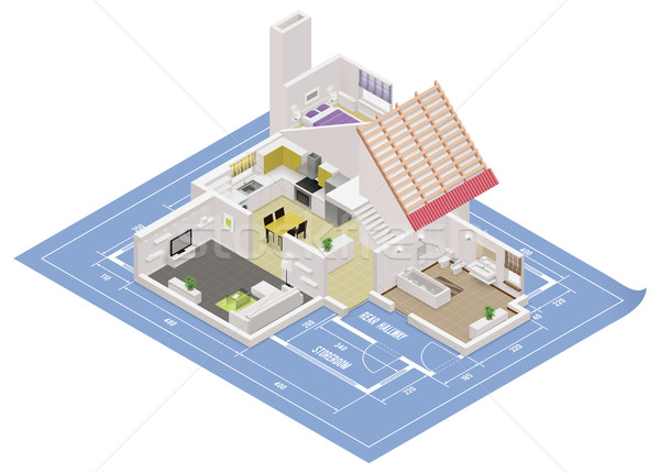 Vector isometric house cutaway icon Stock photo © tele52