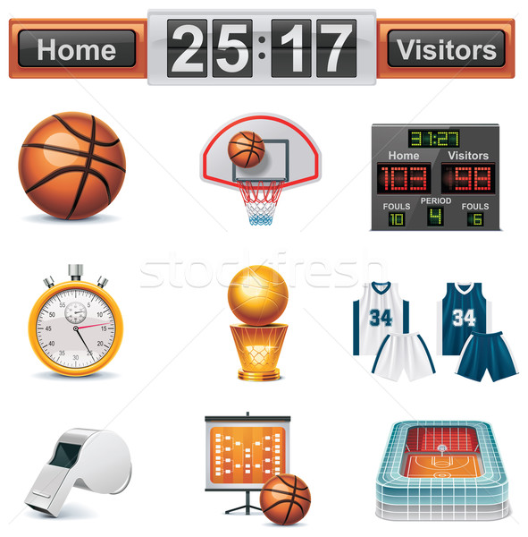 Vector basketball icon set Stock photo © tele52