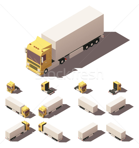 Vector isometric truck with box semi-trailer icon set Stock photo © tele52