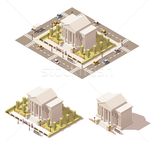 Vector isometric low poly museum building icon Stock photo © tele52