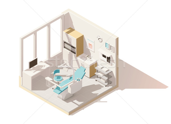 Stock photo: Vector isometric low poly dental office