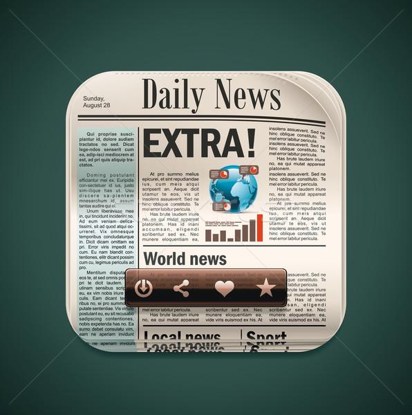 Vector vierkante krant xxl icoon gedetailleerd icon Stockfoto © tele52