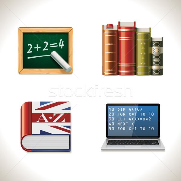 Vector school icons. Part 2 Stock photo © tele52