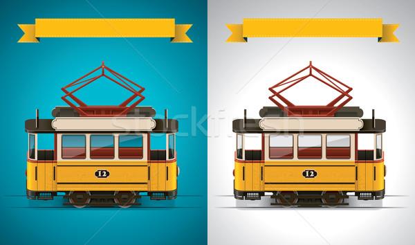 Сток-фото: вектора · ретро · трамвай · xxl · значок · подробный · старые
