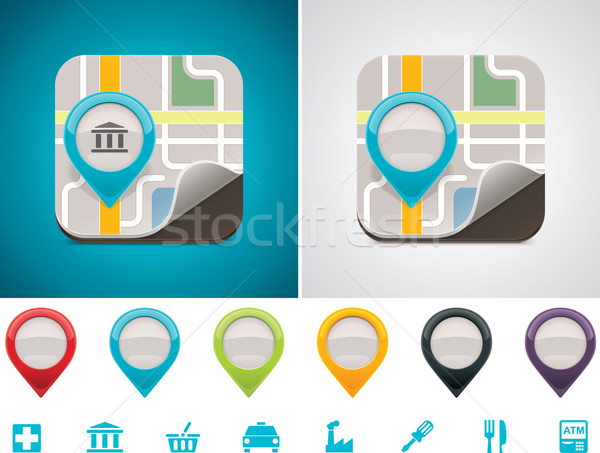 Customizable map location icon Stock photo © tele52