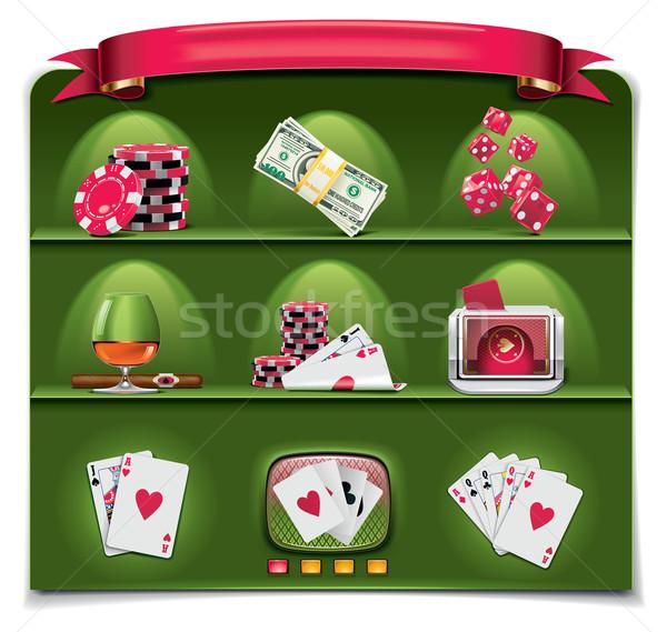 Stockfoto: Vector · gokken · groene · ingesteld · iconen