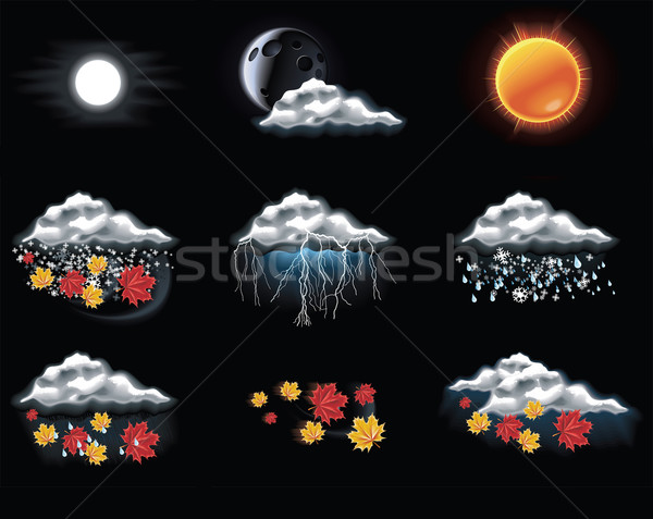 Vector weather forecast icons. Part 2 Stock photo © tele52