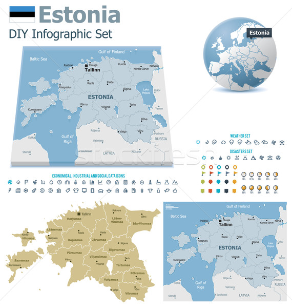 Estonia maps with markers Stock photo © tele52