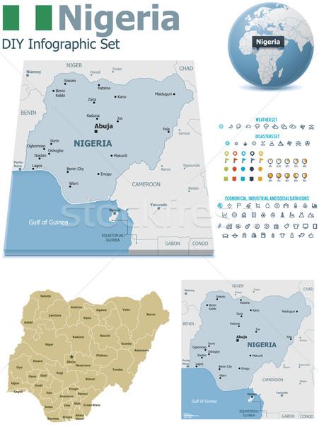 Nigéria mapas conjunto político símbolos Foto stock © tele52