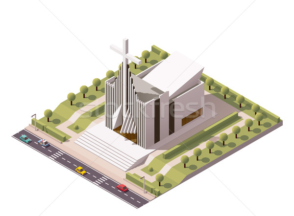 Vector isometric modern church Stock photo © tele52