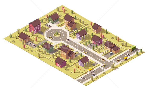 Vector isometric low poly suburb Stock photo © tele52