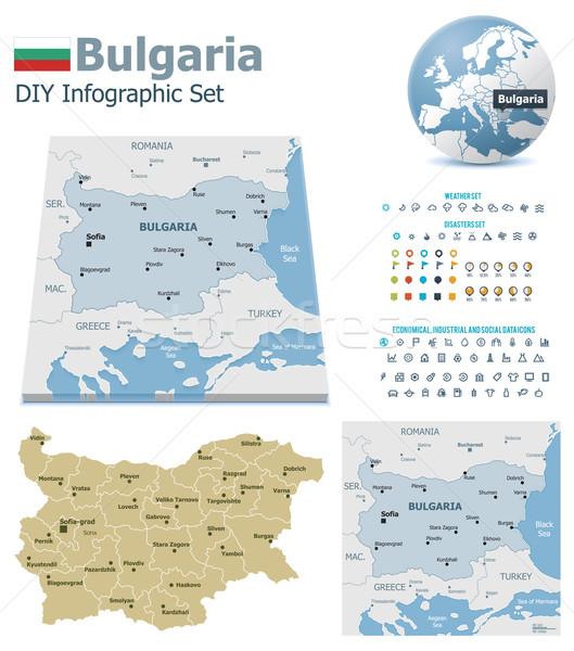 Bulgaria maps with markers Stock photo © tele52