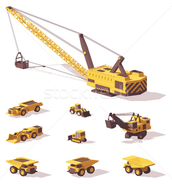 Vector low poly mining machines Stock photo © tele52