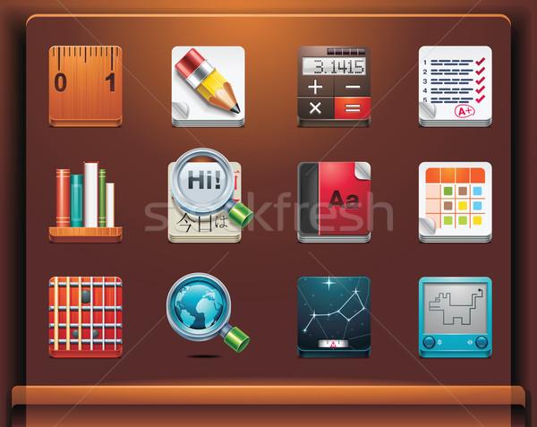Escuela educativo iconos móviles 12 Foto stock © tele52