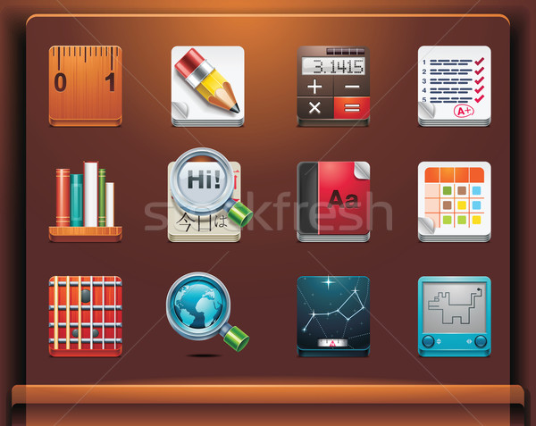 Escolas ícones móvel dispositivos 12 Foto stock © tele52