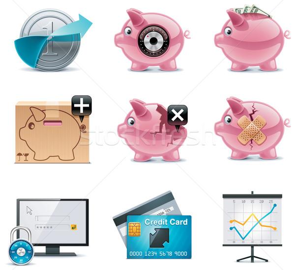 Vektor bankügylet ikonok szett részletes internet Stock fotó © tele52