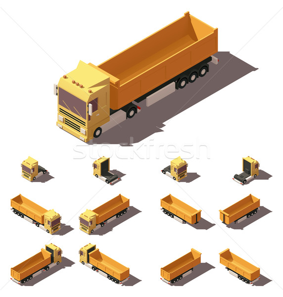 Vector isometric truck with tipper semi-trailer icon set Stock photo © tele52