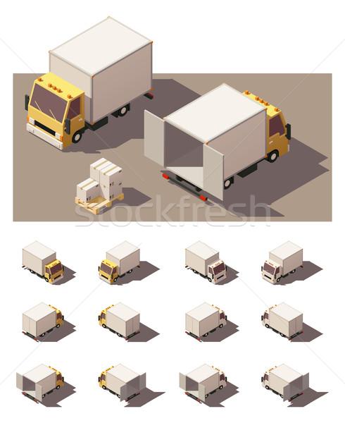ストックフォト: ベクトル · アイソメトリック · ボックス · トラック · インフォグラフィック