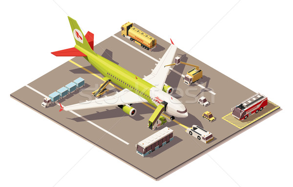 Vector isometric low poly airport apron with airplane, Ground Support Equipment and vehicles Stock photo © tele52