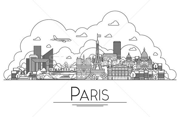 Vektör hat sanat Paris Fransa seyahat Stok fotoğraf © tele52