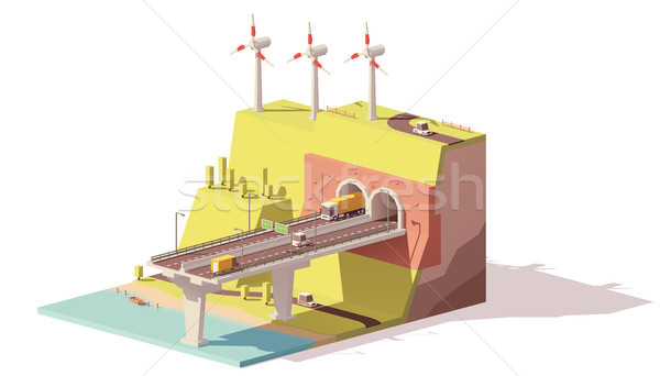 Vector low poly highway and wind farm Stock photo © tele52