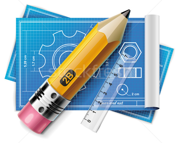 Vector technical drawing XXL icon Stock photo © tele52