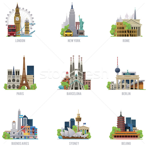Vector travel destinations icon set Stock photo © tele52