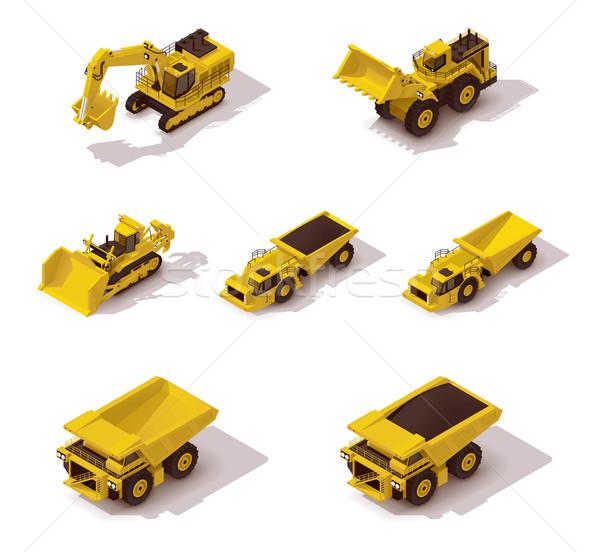 Vektör izometrik madencilik makinalar ayarlamak simgeler Stok fotoğraf © tele52