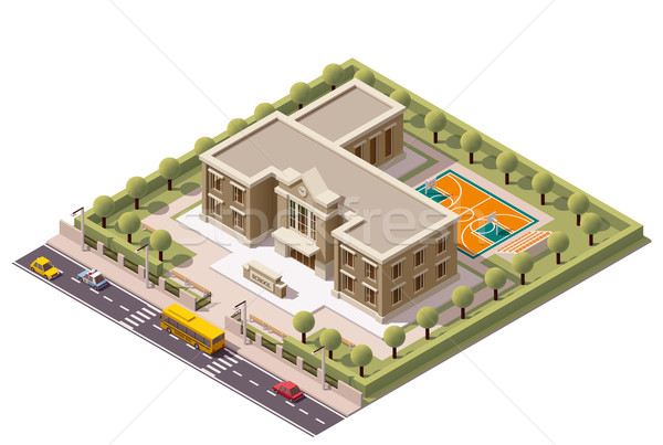 Vector isometric school Stock photo © tele52