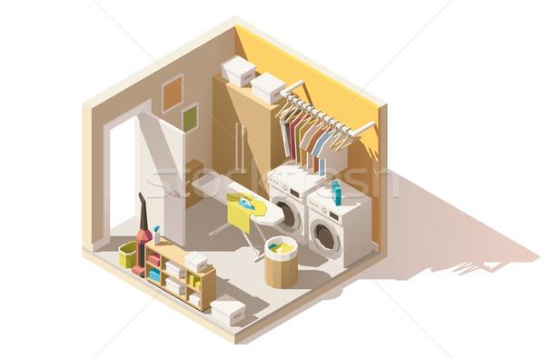вектора изометрический низкий прачечной комнату икона Сток-фото © tele52