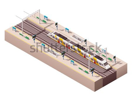 Vector isometric low poly subway train cross-section Stock photo © tele52