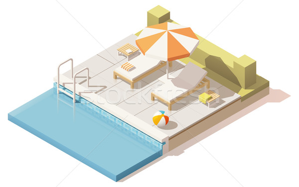 Vector isometric low poly swimming pool Stock photo © tele52