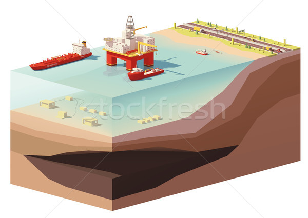 Stock photo: Vector low poly offshore oil rig drilling platform