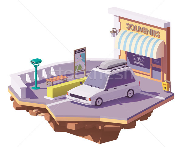 Vector low poly car on the viewpoint Stock photo © tele52