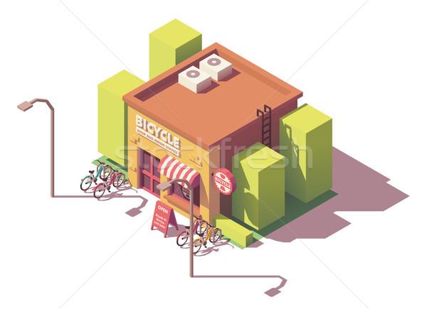 Foto stock: Vetor · isométrica · bicicleta · compras · reparar · serviço